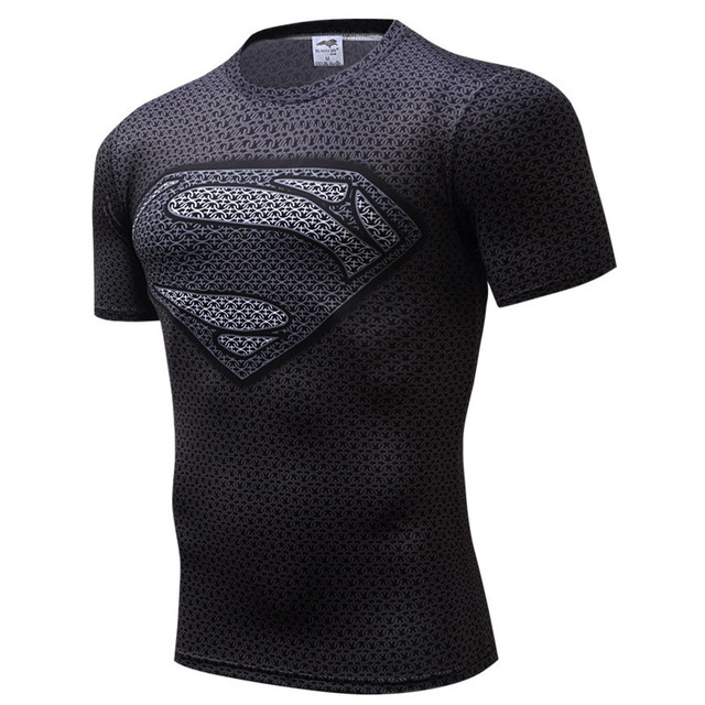 Superman Kaos Pria Kemeja Kompresi Batman Tops Tees Yang Flash T-shirt Kebugaran Crossfit Bodybuilding camiseta rashguard