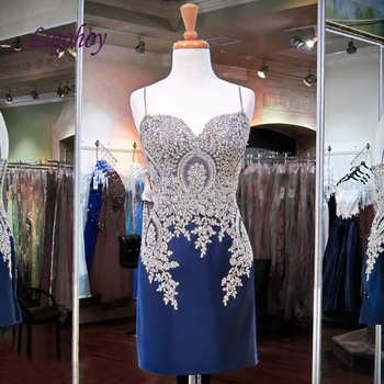 Sexy Short Lace Cocktail Dress Party Plus Size Blue Ladies Girl Women Formal Prom Graduation Semi Formal Dress