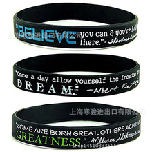 Believe Dream Greatness Printed Letters Silicone Sports Bracelets & Bangles Women Fluorescent Rubber Fitness Wristband Bracelet