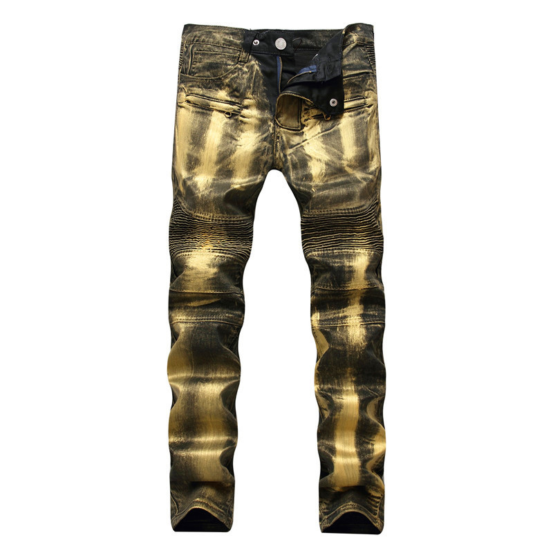 Men's Biker Jeans Pants Print Gold Silver Coated Slim Skinny Denim Trousers For Male Pleated Trousers Plus Size 40
