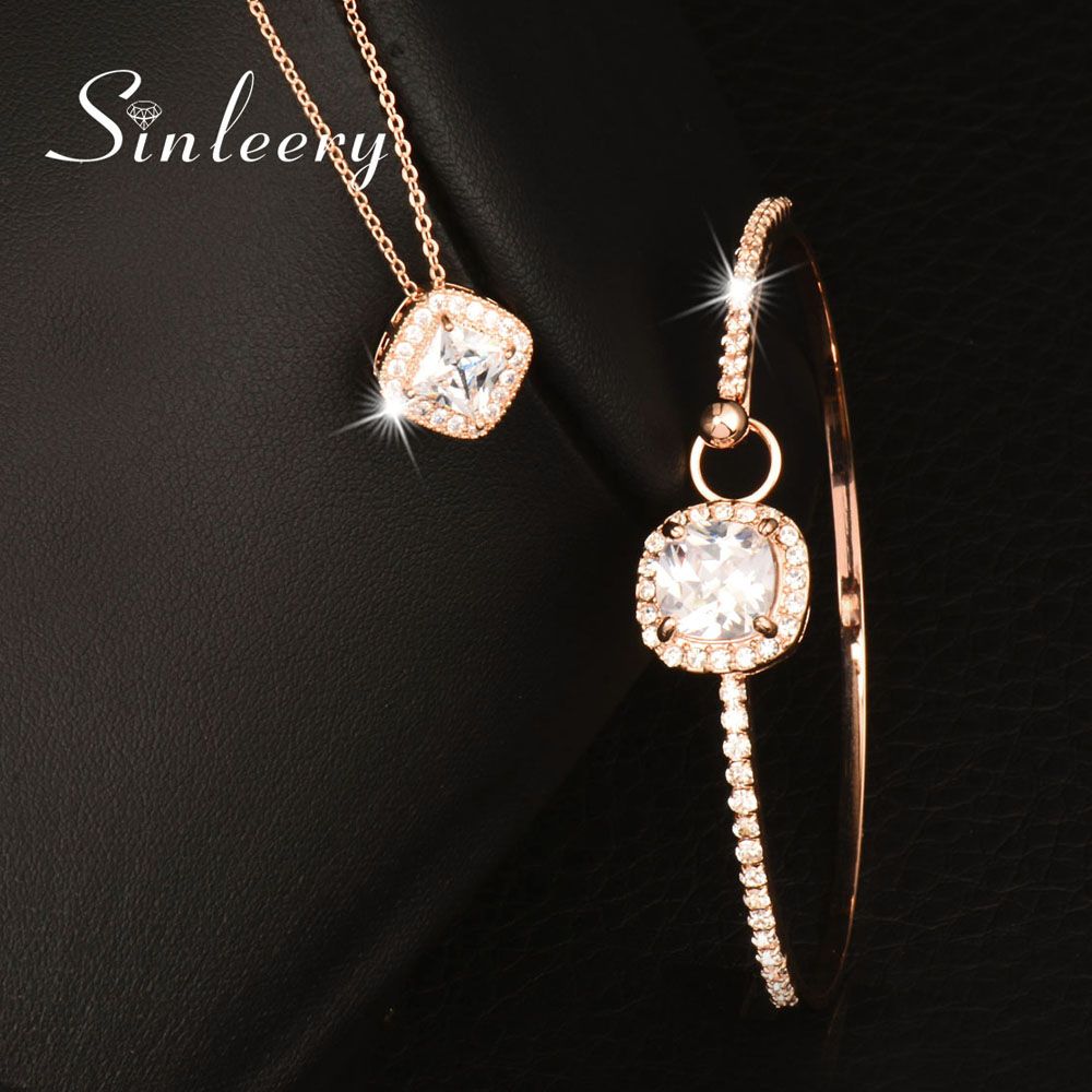 SINLEERY Elegant Square Zircon Pendant Necklace + Bracelets Bangle Jewelry Set For Women Rose Gold Color Jewellry Set TZ404 women s elegant pendant necklace ring w zircon ornament set golden green