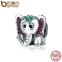 BAMOER Fashion 100 925 Sterling Silver Lucky Elephant Sparkling CZ Animal Beads Fit Women Charm Bracelet