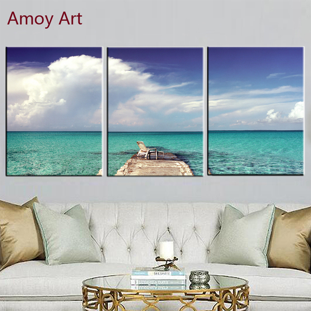 3 Panels Blue Sea Beach Landsscape Wall Art Canvas Prints Pictures For Bathroom Home Decorations