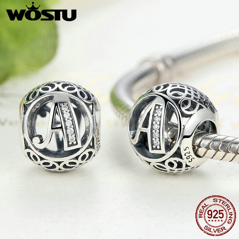 Letter Charm Bracelets: Authentic 925 Sterling Silver Vintage A To T Letter Charms