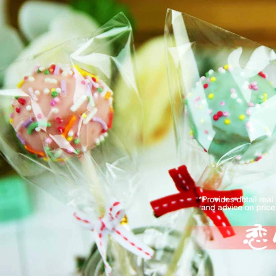 100 шт прозрачная Конфета подарочные пакеты леденец сладости плоские обертывания сумки мерчендайз упаковка мешок контейнер для пищевых продуктов небольшой полиэтиленовый пакет