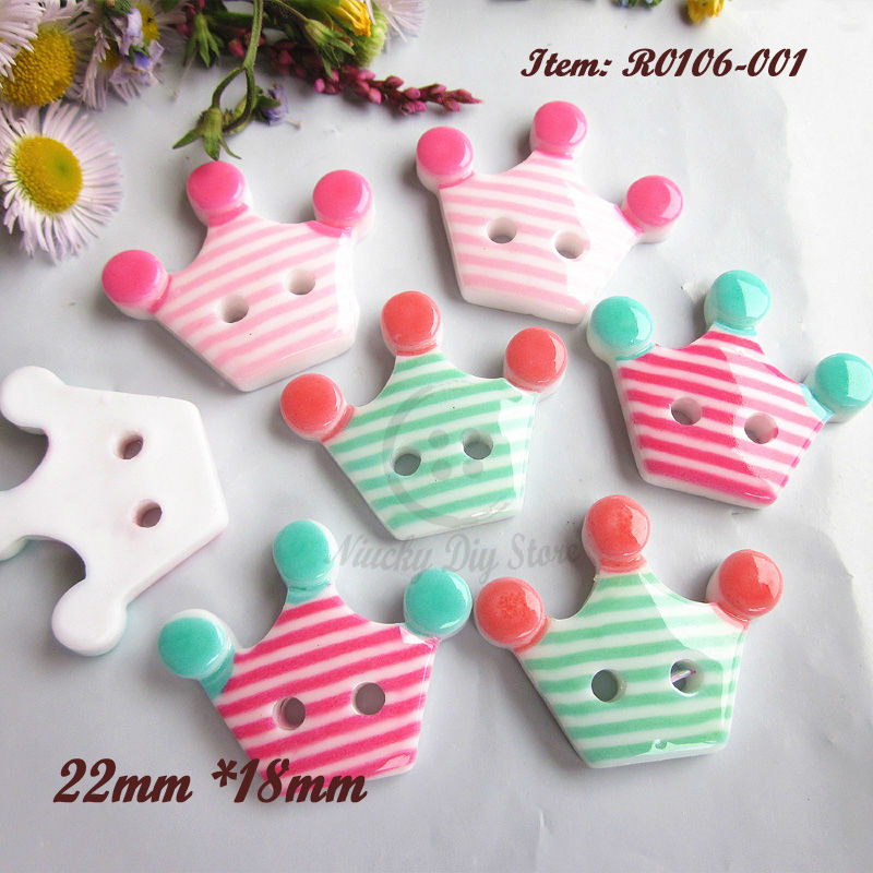 New!! 48pcs 2 holes 1 color / Mixed color Crown buttons for sewing decoration scrapbook Diy craft supplies 22mm*18mm