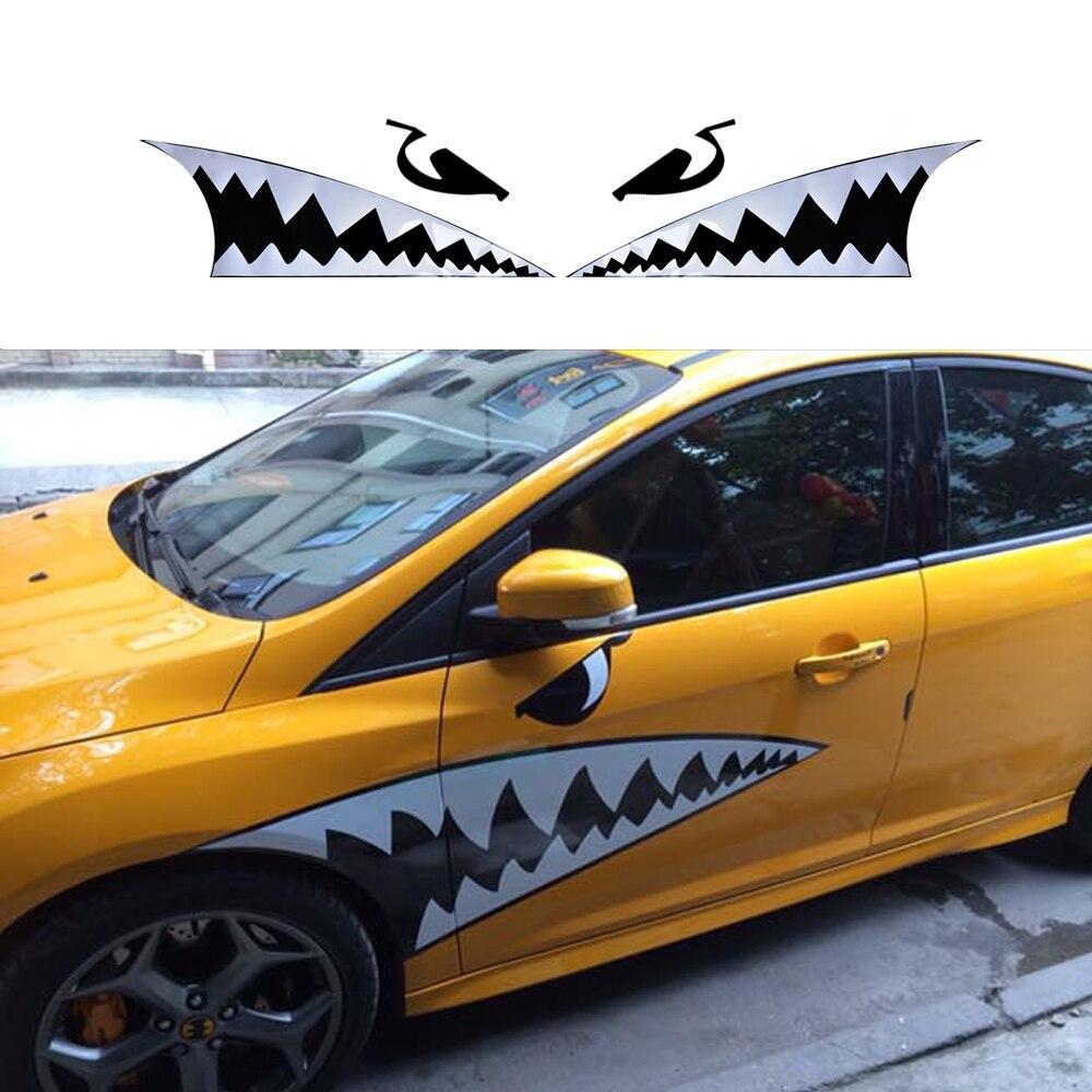 Car body sticker design malaysia - Diy Car Styling Accessories Car Body 3d Shark Mouth Waterproof Decals Sticker Car Scratch Cover