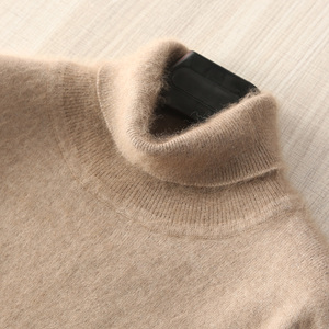 Image 2 - Winter Thick Warm Mink Cashmere Sweater Men Turtleneck Mens Sweaters Slim Fit Pullover Men Classic Wool Knitwear Pull Homme tops