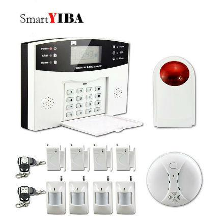 SmartYIBA Wired/Wireless Defense Zones Voice Wireless Wired Home Security GSM Alarm Quad band GSM SMS Alarm System arduino atmega328p gboard 800 direct factory gsm gprs sim800 quad band development board 7v 23v with gsm gprs bt module