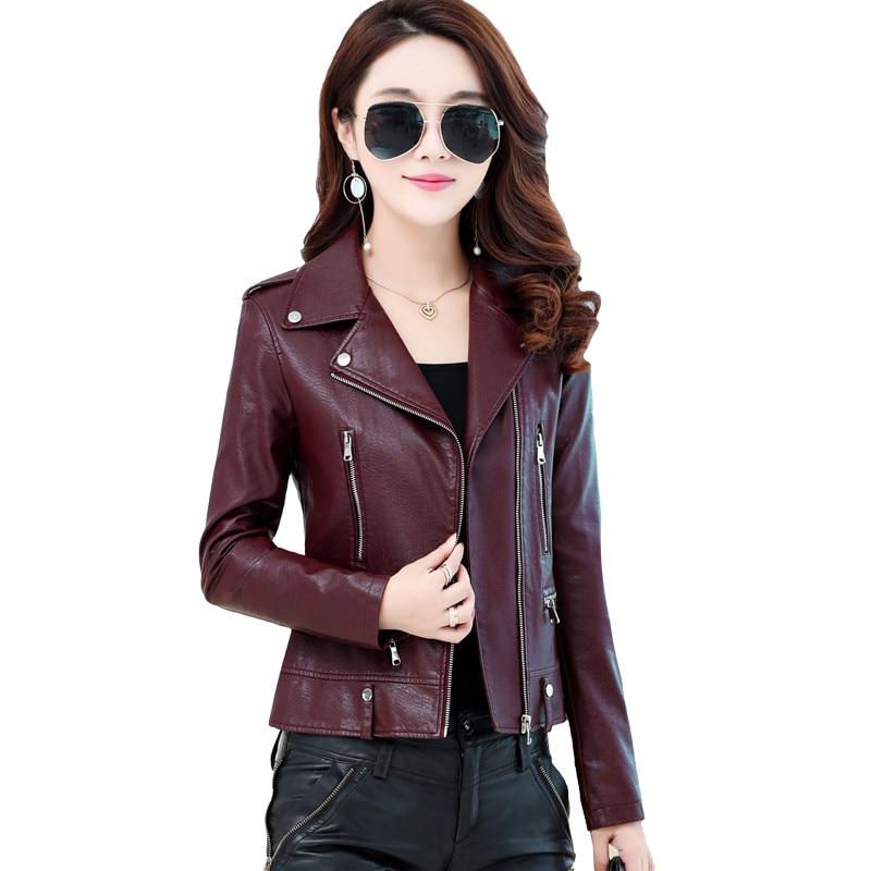Plus Size 4XL Spring Short   Leather   Jacket Women Long Sleeve Zipper Motorcycle Bomber Jacket Women Coat Jaquetas Feminina C4119