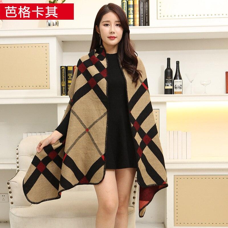 Новинка, роскошный брендовый женский зимний шарф, теплая шаль, женское Клетчатое одеяло, вязанное кашемировое пончо, накидки для женщин, echarpe - Цвет: Ba khaki
