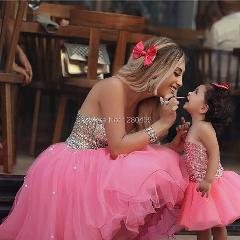Adorable Rosa Vestido de Fiesta Vestido de Fiesta Corto Madre e Hija ...