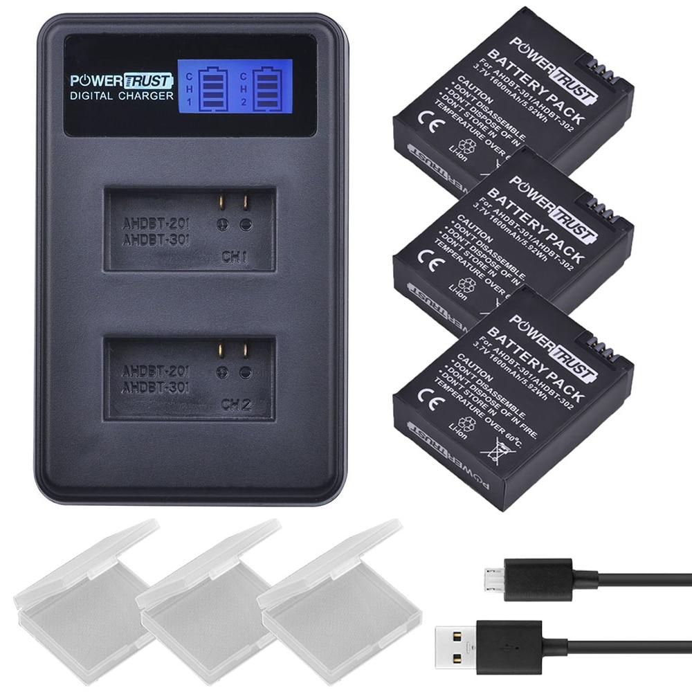 3 piezas 1600 mAh AHDBT-301 AHDBT301 AHDBT 301 Li-Ion batería de la cámara para GoPro Hero3 + LCD Dual USB cargador para gopro héroe 3/3 +