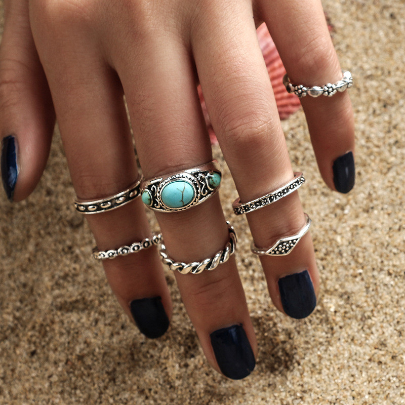 CWEEL New Retro Antique Gold Color Midi Rings for Women Punk Style Leaf Ring Set 7PCS/Lot Blue Stone Vintage Jewelry