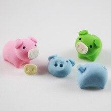 1pcs cute Cartoon piggy lovely eraser children Learning stationery kawaii school supplies papelaria gift for kids