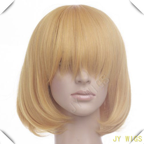 Long Bang New Arrival Light Yellow Blonde 35cm Women Short Straight Cosplay Wig Free Wig Cap