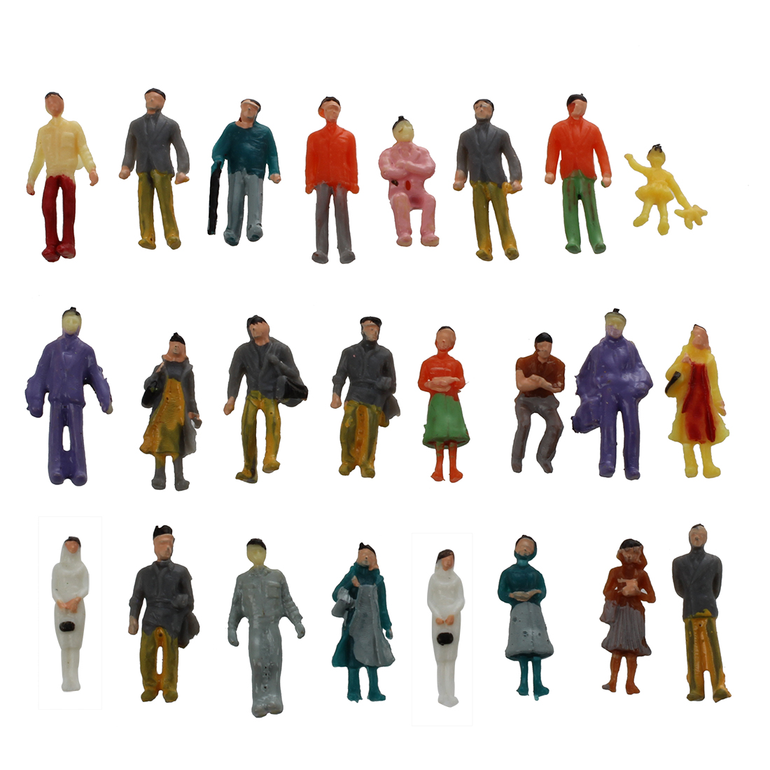 24 Stuck Colorful Painted Sand Table Model Railway Passenger Figures Scale 1 to 87