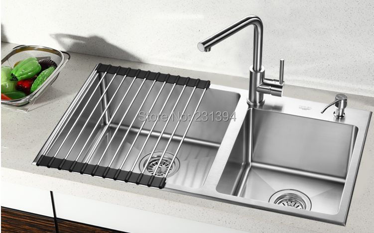 800450220mm stainless steel undermount kitchen sinks sets double bowl drawing double drainer - Kitchen Sinks Price