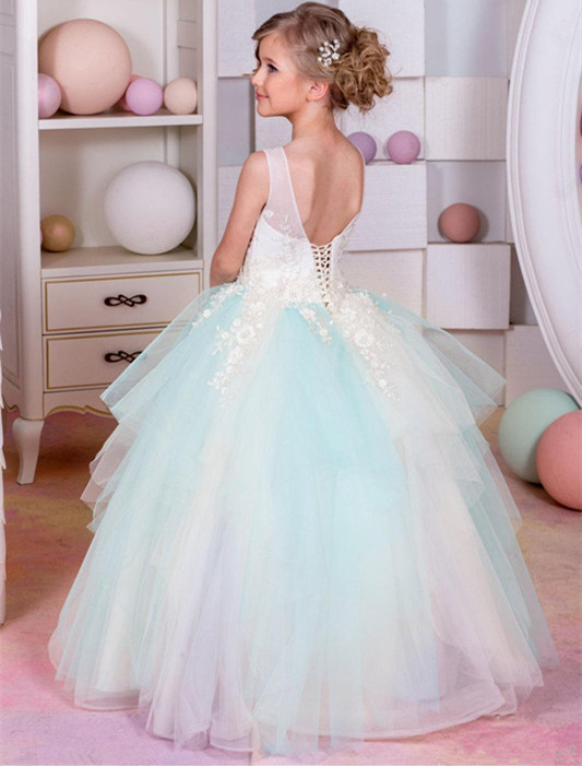 Beautiful Flower Girls Dresses 2018 New Crew Neck Lace Up Back Puffy Tulle 3D Floral Little Girl Communion Gowns new white ivory flower girl dresses for wedding 3d flowers puffy tulle with big bow girls first communion gowns