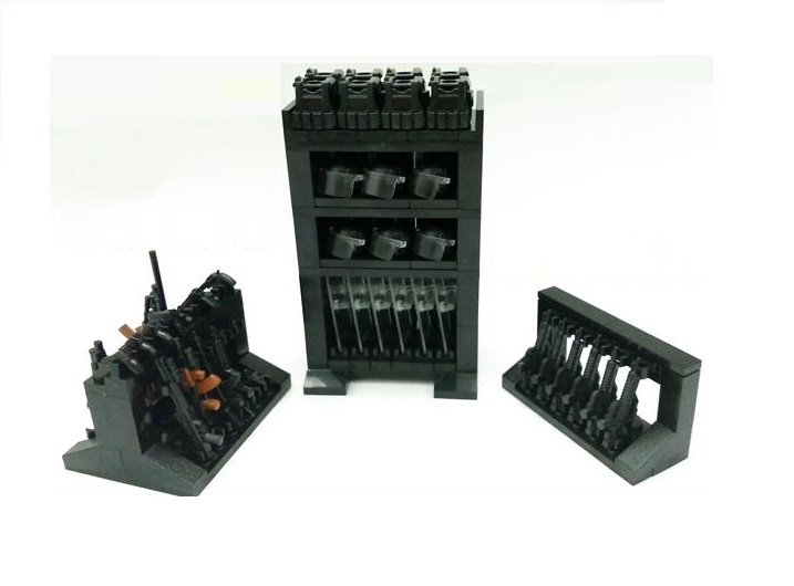 Firearms equipment storage rack blocks city blocks weapons swat police military model Building kits Bricks Block original Toy 6pcs set military series 2 8cm ak weapons cannon bricks parts army police swat block gun building blocks models toys