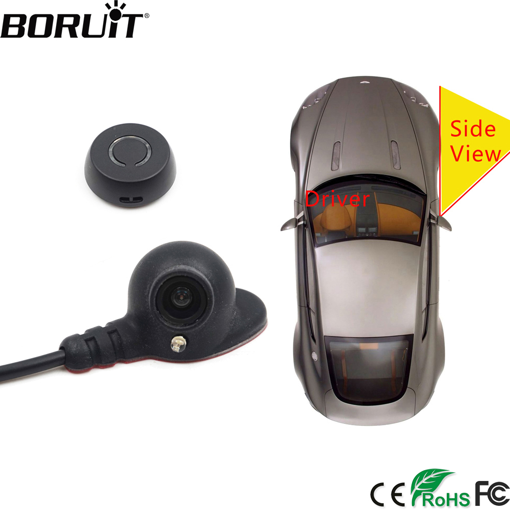 BORUiT Car Right Blind Spot System Camera Auto Parking System Side Rear View Camera Mini Two Video Automatic Switch Control