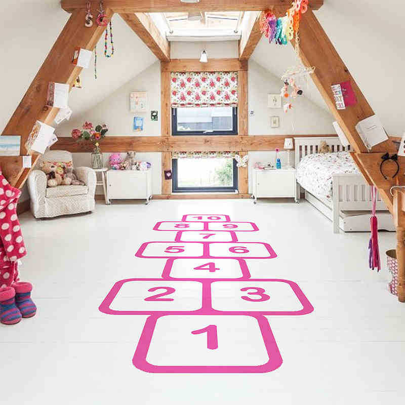 Nursery Personalized Floor Wall Stickers For Kids Rooms Family Games Childhood Memories Stick Jump Plaid Playful Hopscotch Decal