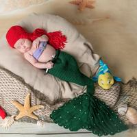 3pcs Set Hot Sale Hand Woven Character Photography Clothes Baby Photography Clothing Knitted Fish Body Prop