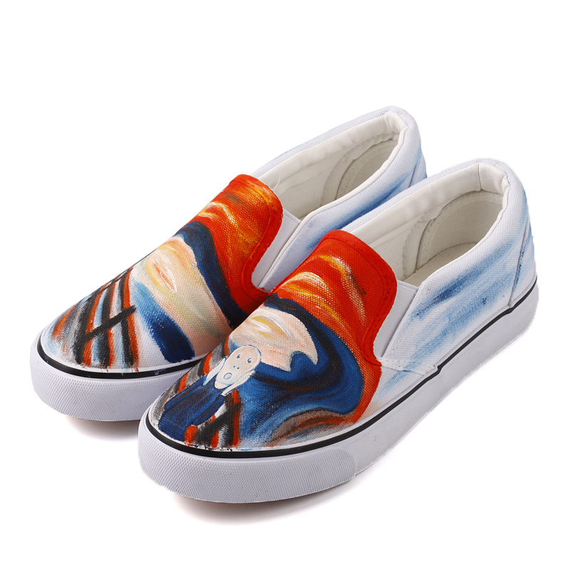 E-LOV Unique Design The Scream Hand Painting Canvas Shoes Women Casual Loafers Lazy Shoes Outdoor Slip On Sapato Feminino e lov unique design taurus horoscope luminous canvas shoes women diy graffiti couples lovers casual flats zapatillas mujer