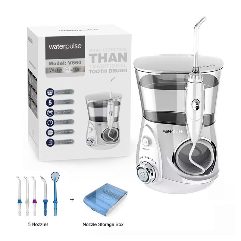 12 livello Orale Dental Flosser Irrigatore, V660 Pick Acqua + 5 Ugelli + box + 2 Nasale Ugelli, strumenti di Igiene orale Oral Irrigazione