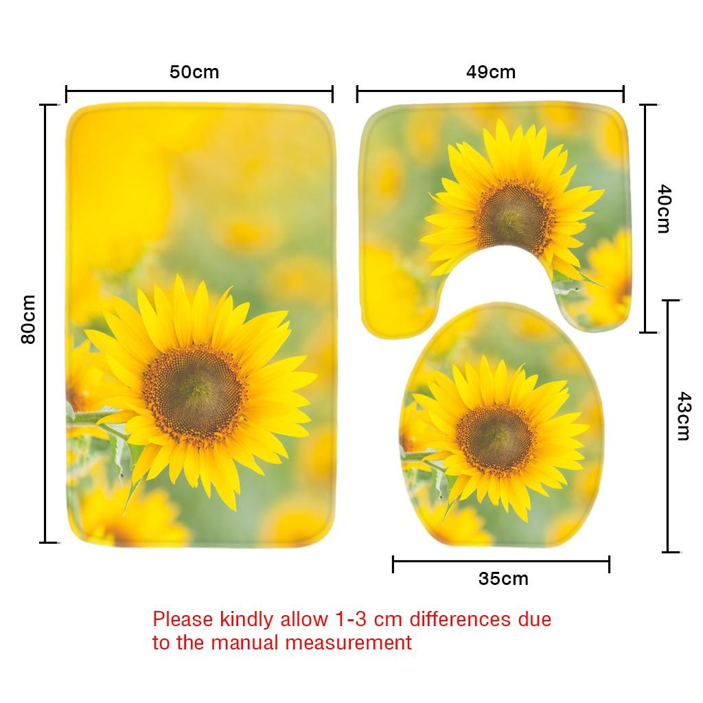 Salle De Bain Motif Fleur ~ 3 pcs salle de bains tapis ensembles jaune soleil fleurs motif anti