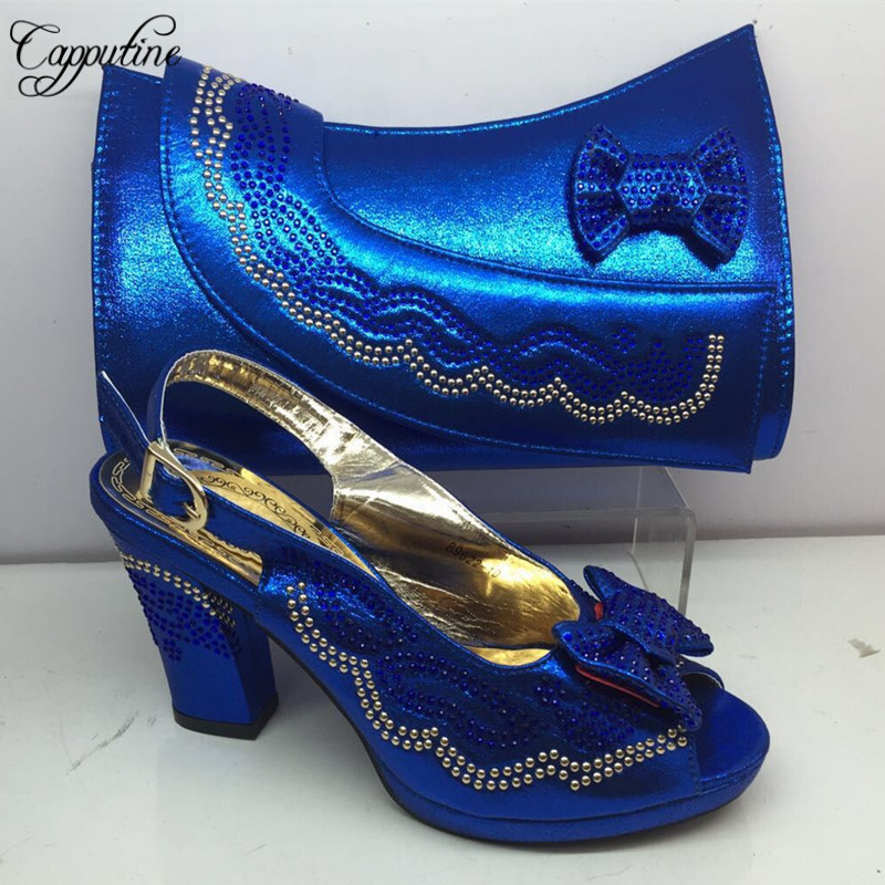 Blue Color Nigerian New Arrival Shoes And Matching Bags Set Summer PU Square Heels Shoes And Bags Set For Wedding Party L295C(China)