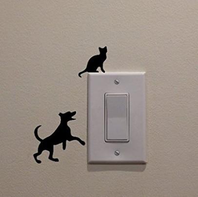 Perro Gato Persiguiendo la Luz Interruptor de la Etiqueta engomada del Vinilo Ta