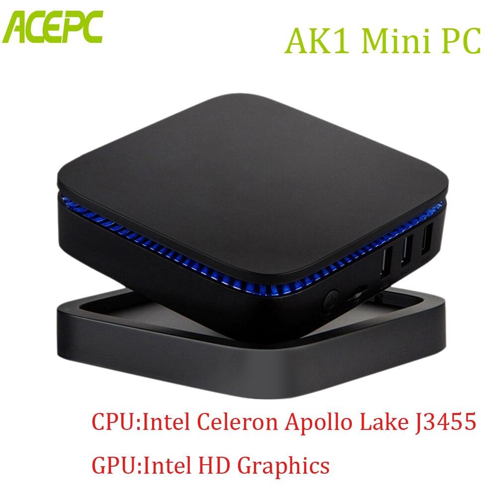 ACEPC AK1 Win10 мини-ПК с Linux Intel Apollo Lake Celeron J3455 4G 32G 6G  64G 2,4G/5G