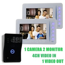 DIYSECUR 7 pulgadas LCD Video Puerta Timbre Del Teléfono Tecla Táctil Con IR Cámara Home Portero 1 Cámara de 2 Monitor de Visión Nocturna