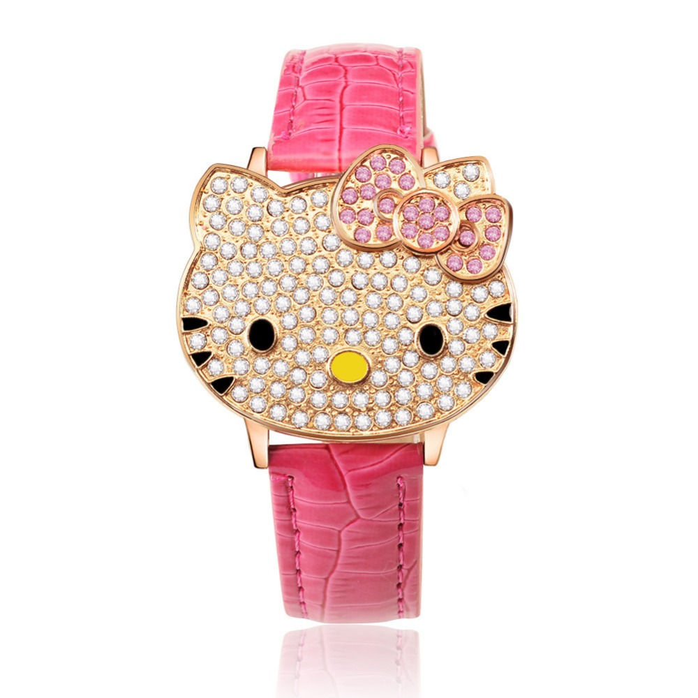 Wholesale New Leather Crystal Wrist Watch Kids Women Children Girls Cartoon Fashion Hello Kitty quartz watch clock Relojes 8A56 цена