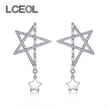 LCEOL  Elegant White CZ Diamonds Lucky Star Stud Earrings For Women Bijoux Fashion Jewelry Cute Birthday Gift All Match