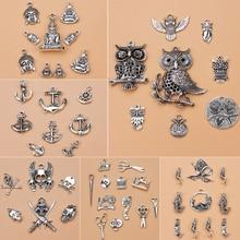 24 types Mixed Antique Silver European Bracelets Handmade Charm Pendants Jewelry