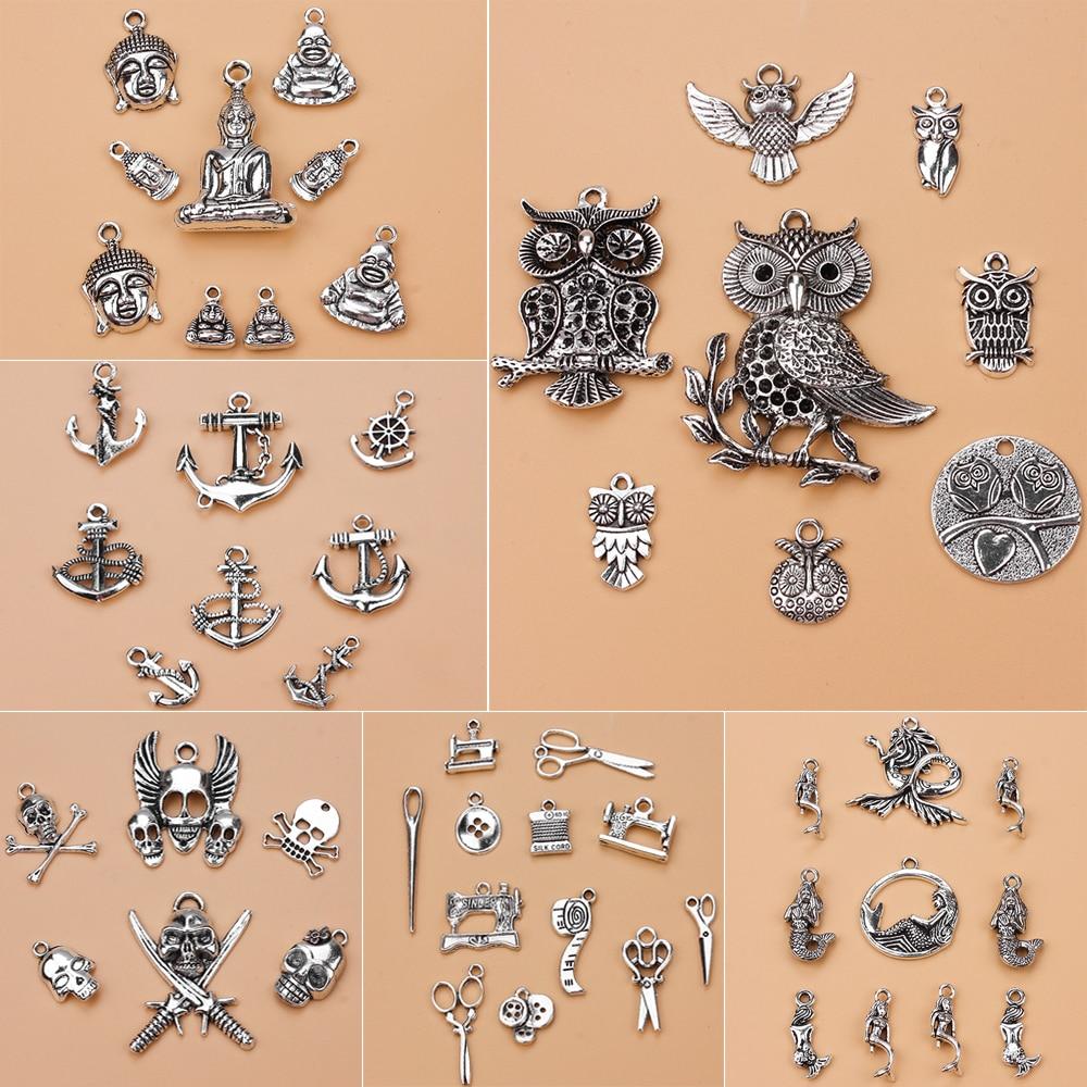 24 вида смешанные античное серебро Европейский Браслеты Шарм Подвески Ювелирных изделий DIY талисманы ручной работы