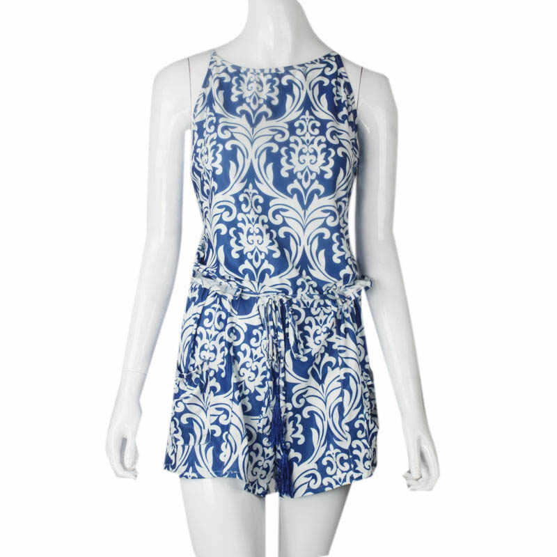 28635449ae5c ... Macacao Feminino Shorts Female Rompers Sexy Womens Jumpsuit Shorts Sexy  Backless Blue and white porcelain piece ...