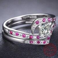 MDEAN 925 Rắn Sterling Silver Hồng AAA Zircon Trang Sức Cưới Nhẫn Sets đối với Phụ Nữ Engagement Femme Bague Kích Thước 6 7 8 MSR467