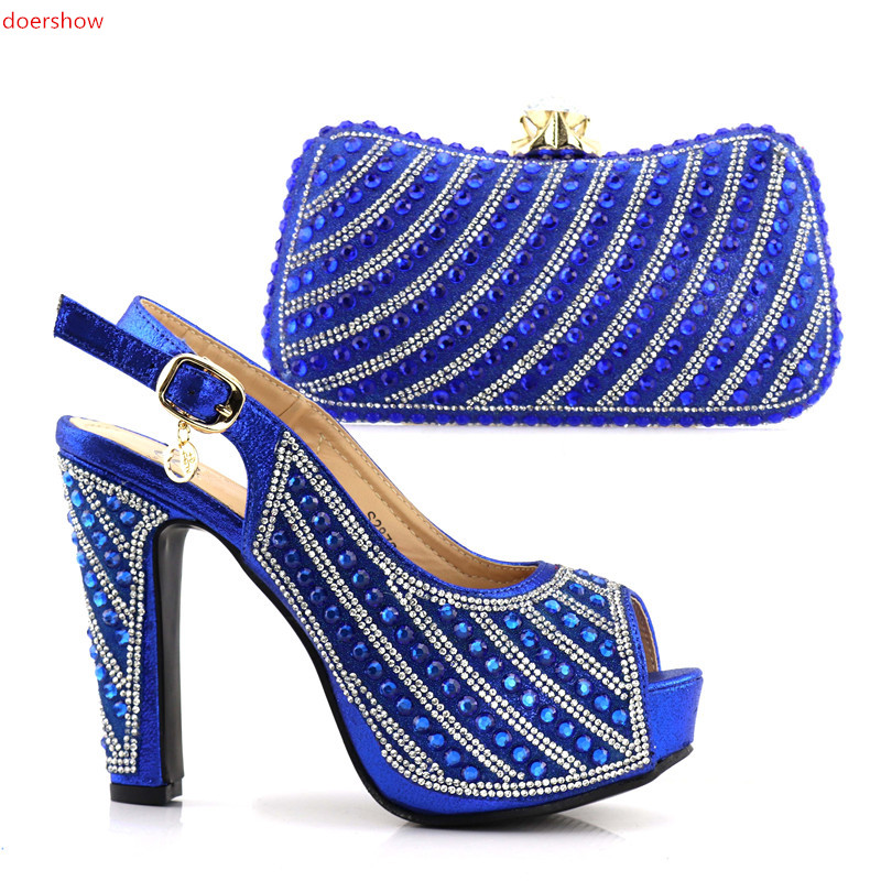 doershow Charming Italian Shoes With Matching Bags Rhinestones blue High Quality African Shoes And Bags Set for Wedding SJCC1-16 2016 italian shoes with matching bags for party high quality african shoes and bags set for wedding