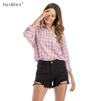 2018 Womens tops and blouses Fashion Female College style Long Sleeve Plaid Shirt Plus Size Cotton Blusas ladies Office tops