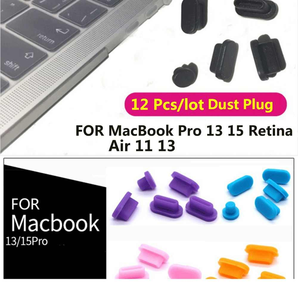 12Pcs Anti Stof Plug Set Voor Apple Macbook Pro 13 15 Retina / Air 11 13 Laptop Siliconen Cover usb Stofdicht Computer Accessoires