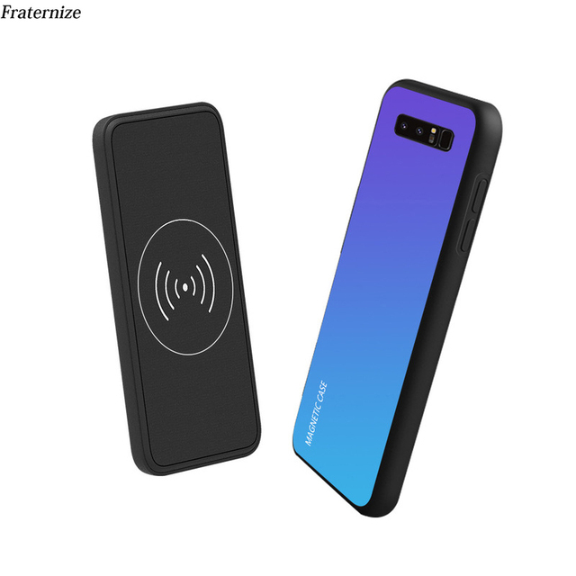 quality design 02d4d 01076 US $19.99 30% OFF|Note 9 Battery Charger Wireless Charger Power Bank Case  For Samsung Galaxy Note 8 9 Charging cases Magnetic glass Back cover-in ...
