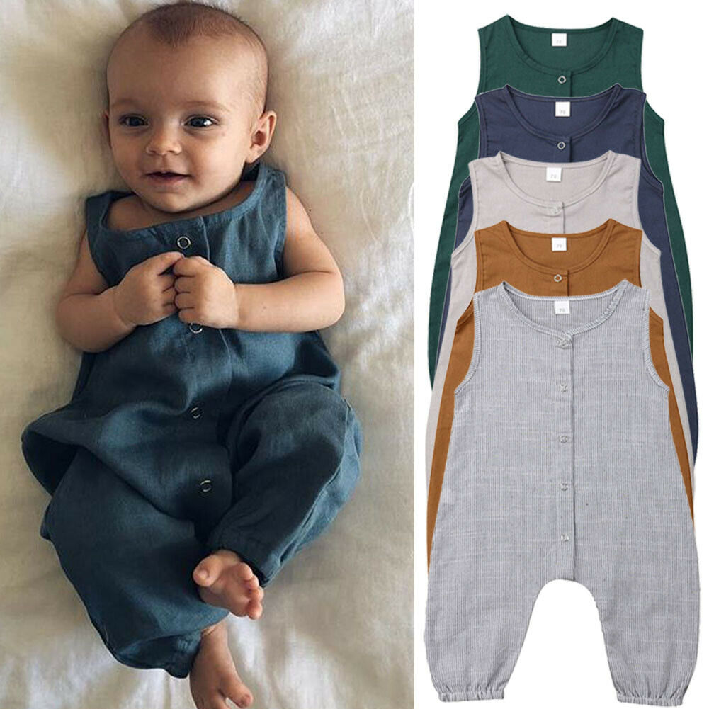 Newborn Kids Clothing Baby Boys Sleeveless Buttons   Romper   Solid Color Jumpsuit Playsuit Top One Piece Outfits Summer Clothes