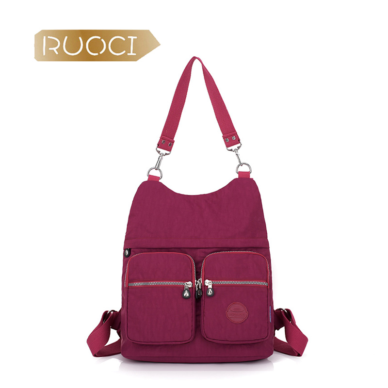 RUOCI 9 Color Brand Women Nylon Multipurpose Handbags And BackBag Female Shoulder Bag Mom Travel Fashion Crossbody Hobo Bags sac