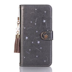 Image 3 - Luxury Hollow Leather Flip Case for Iphone X 8 7 6 6S Plus Xs Max Xr Cute Star Month Magnetic Wallet 360 Book Cover Tassel Pearl