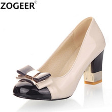 Pumps-Shoes Bowtie Color-Block Wedding-Working High-Heels Pink Women Sweet Shallow Candy-Color