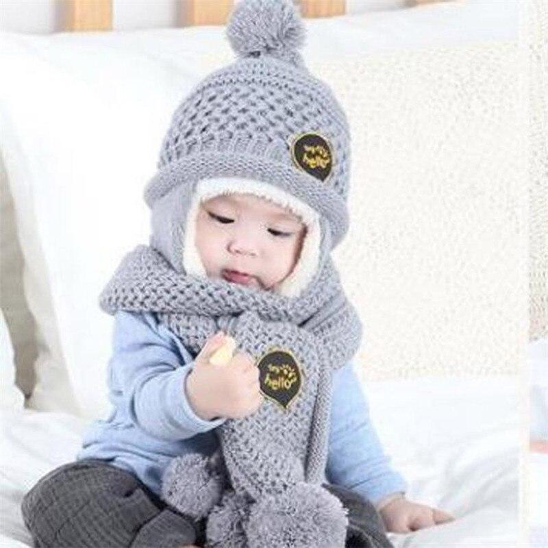 2 шт. для маленьких мальчиков Обувь для девочек младенцу письмо печати вязать venonat шарф + шляпа шапки Теплый комплект новый бренд и высокое ка...