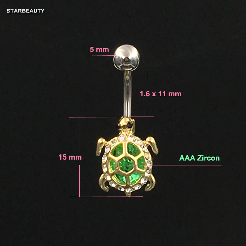 14G Green Tortoise Bijou Belly Piercing Nombril Turtle Belly Button - Märkessmycken - Foto 2